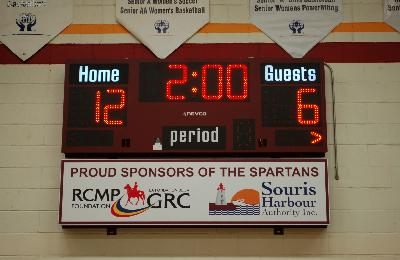 Tableau de pointage de basketball 2700 (8' x 3') - Souris High School, Souris, PEI